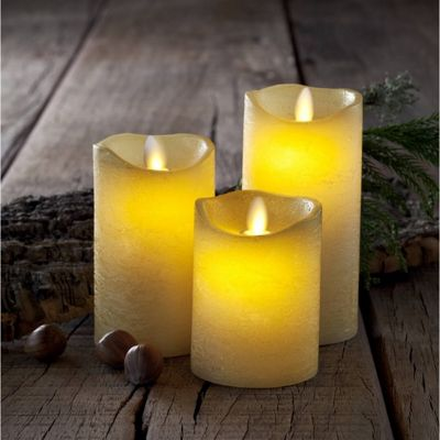 Sirius Set of 3 Tenna Wax Candles LED Flame Free in Almond Cream