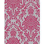 Superfresco Elizabeth Wallpaper - Pink and Silver
