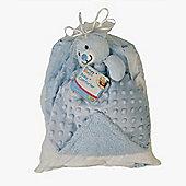 Baby Gift Set Mink Bubble Reversible Blanket & Doudou Comforter - Blue