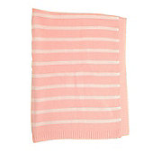 Blanket in Pink and White Stripes for Cot and Pram - Beige