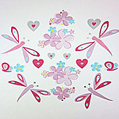 Flower and Dragonfly, 18 Sticker Pack