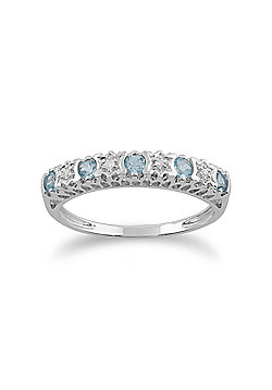 Gemondo Topaz Ring, 9ct White Gold 0.30ct Blue Topaz & Diamond Half Eternity Ring