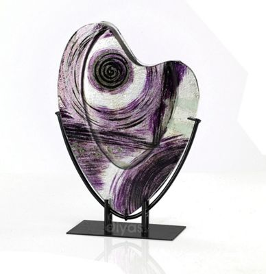 Elvira Glass Art Vase Silver/Black/Purple