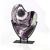 Elvira Glass Art Vase Silver/Black/Purple
