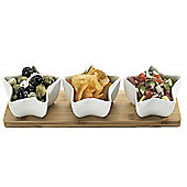 Occasion Star Shape Ceramic Dip Set with Bamboo Serving Board