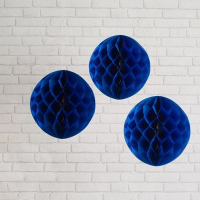 Set of 3 Navy Blue Paper Honeycomb Decorations