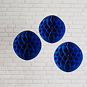 Set of 3 Navy Blue Paper Honeycomb Decorations