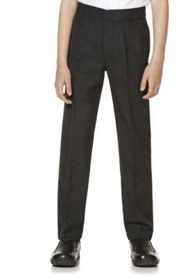 "F&F School 2 Pack of Boys Teflon EcoElite""™ Flat Front Slim Leg Shorter Length Trousers 5-6 years Dark grey"