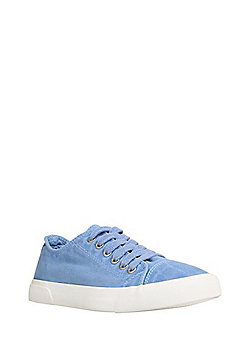 F&F Washed Canvas Lace-Up Plimsoles - Blue