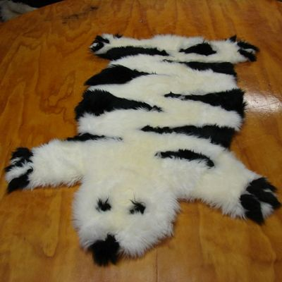 Bowron Sheepskin Designer Bear Rug in Striped Ivory - 115cm H x 80cm W