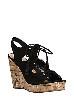 F&F Ghillie Wedge Sandals - Black