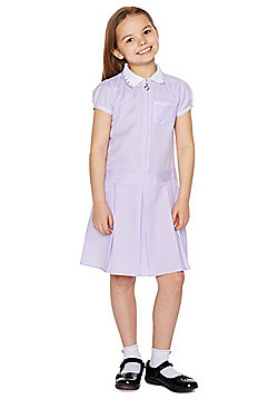 F&F School Easy Care Plus Fit Gingham Dress with Scrunchie - Lilac