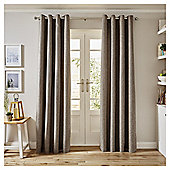 Basketweave Lined Eyelet Curtains,  (66 x 54'') - Mocha