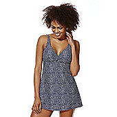 F&F Shaping Swimwear Polka Dot Swim Dress - Blue