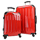 Swiss Case 4-Wheel 2Pc Hard Suitcase Set, Red