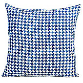 Homescapes Houndstooth 100% Cotton Scatter Cushion Blue, 60 x 60 cm