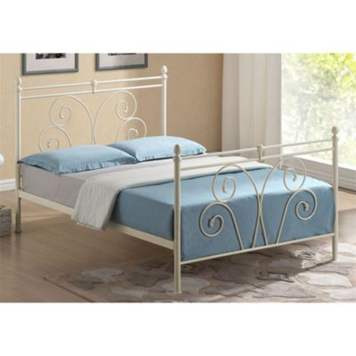 Flower Bud Style Ivory Metal Bed Frame - Single 3ft
