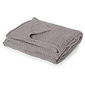 Dreamscene Large Waffle Honeycomb Mink Faux Fur Fleece Sofa Bed Throw - Charcoal