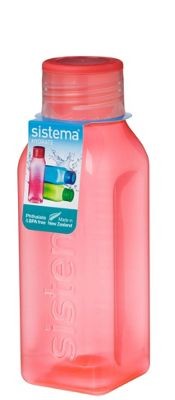 Sistema Hydrate 475ml Square Drink Bottle, Orange