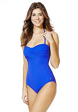 F&F Halterneck Cross-Over Swimsuit - Cobalt blue