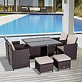 Outsunny 9PC Wicker Furniture Outdoor Rattan Dining Set with Foot Stool - Brown