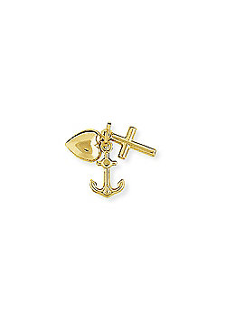 Jewelco London 9ct Yellow Gold - Faith Hope and Charity Charm Pendant -