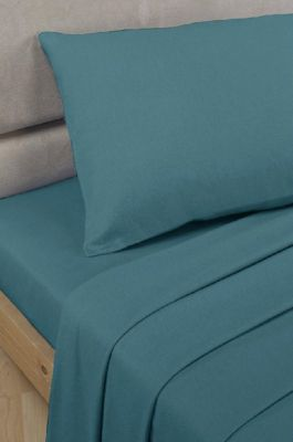 Polycotton Percale - Fitted Valance Sheet - Teal - Single