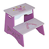 Kiddi Style Princess Themed Wooden Childrens Steps - Pink
