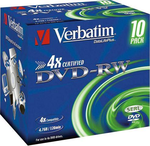 VERBATIM DVD-RW 4,7GB 4X 10PC JC SCRATCH