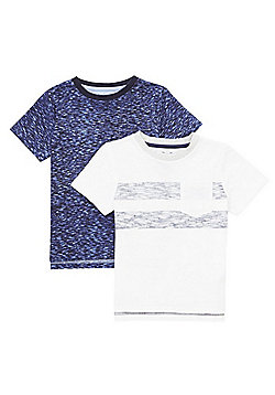 F&F 2 Pack of Space Dye T-Shirts - Navy