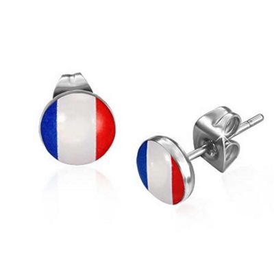 Urban Male Men's Stainless Steel Flag Of France Stud Earrings 7mm