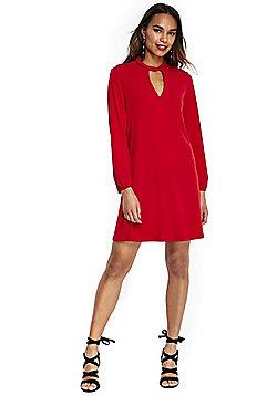 Wallis Petite Twist Neck Long Sleeve Dress - Red