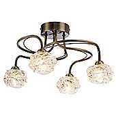 Modern Ceiling Lighting Fitting in Antique Brass with Transparent Glass Heads