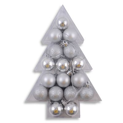 Assortment of 17 Mini Shatterproof Silver Festive Bauble Decorations in Christmas Tree Box