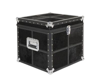 Jadeed Interiors Cowhide Cube Trunk in Black