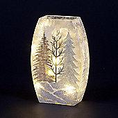 Lit Glass Vase with Glitter Forest 24cm Warm White LEDs