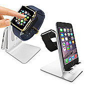 Orzly DuoStand Charge Station for Apple Watch and iPhone- Silver