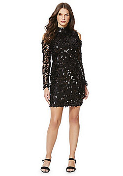 AX Paris Sequin Cold Shoulder Dress - Black