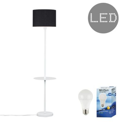 Steward Single Stem LED Floor Lamp with Coffee Table - White & Black