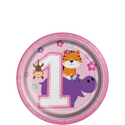 One is Fun Girl Dessert Plates - 18cm Paper Party Plates