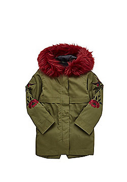 F&F 3 in 1 Embroidered Parka - Khaki