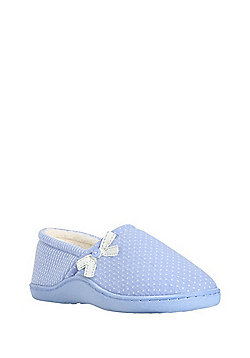 F&F Spot and Stripe Closed Back Slippers - Blue