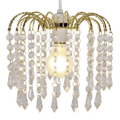 Myra Acrylic Crystal Ceiling Pendant Light Shade Chandelier, Gold