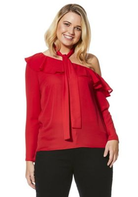 Simply Be Scarf Tie Ruffle One-Shoulder Blouse 20 Red