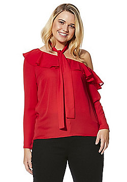 Simply Be Scarf Tie Ruffle One-Shoulder Blouse - Red