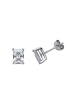 Rhodium Plated Sterling Silver Emerald Cut Cubic Zirconia Solitaire Stud Earrings