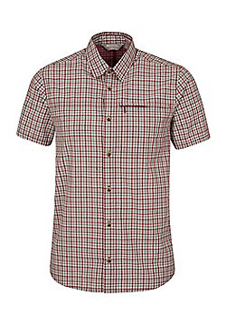 Mountain Warehouse Mens 100% Cotton Holiday Shirt w/ Easy Care & Mesh Lining - Red