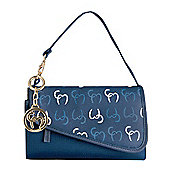 Clevamama Initials Collection Lara Navy Clutch Baby Changing Bag & Mat