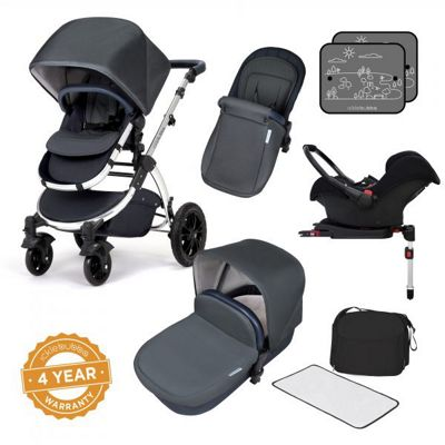 Ickle Bubba Stomp V4 Isofix Travel System plus 2nd Stage Group 1,2,3 Car Seat - Blueberry Chrome