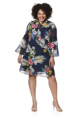 Lovedrobe Tropical PussyBow Plus Size Dress Navy Multi 22